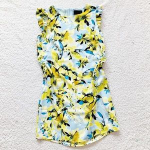 Cynthia rowley yellow blue floral bird ruffle dres